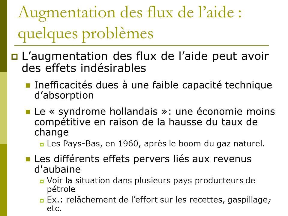 7 Augmentation des flux de laide : quelques problèmes Laugmentation des flux de laide peut avoir des effets indésirables Inefficacités dues à une faib