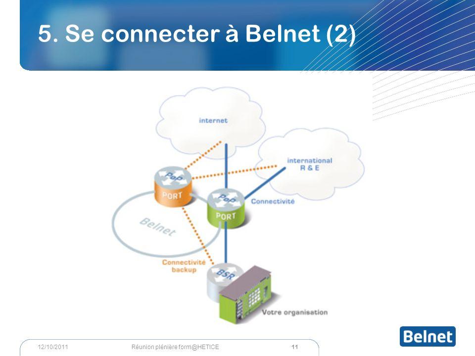 5. Se connecter à Belnet (2) 11 Réunion plénière form@HETICE12/10/2011