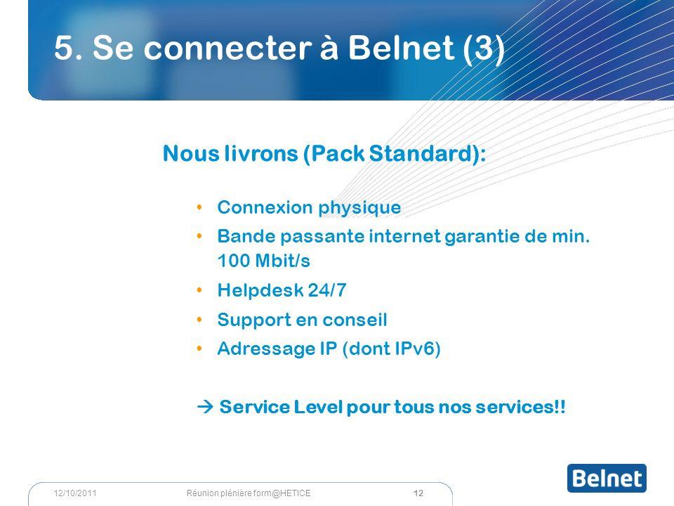 5. Se connecter à Belnet (3) Nous livrons (Pack Standard): Connexion physique Bande passante internet garantie de min. 100 Mbit/s Helpdesk 24/7 Suppor