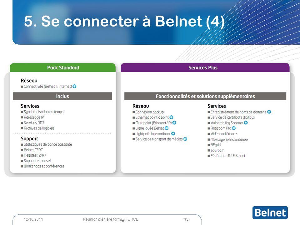 5. Se connecter à Belnet (4) 13 Réunion plénière form@HETICE12/10/2011