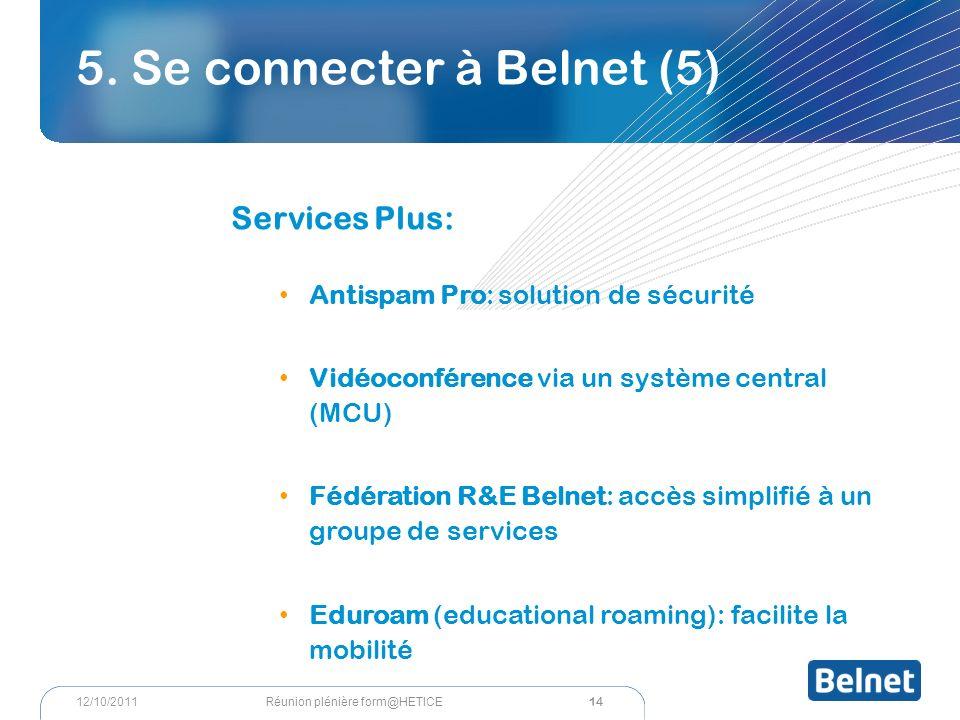 5. Se connecter à Belnet (5) Services Plus: Antispam Pro: solution de sécurité Vidéoconférence via un système central (MCU) Fédération R&E Belnet: acc