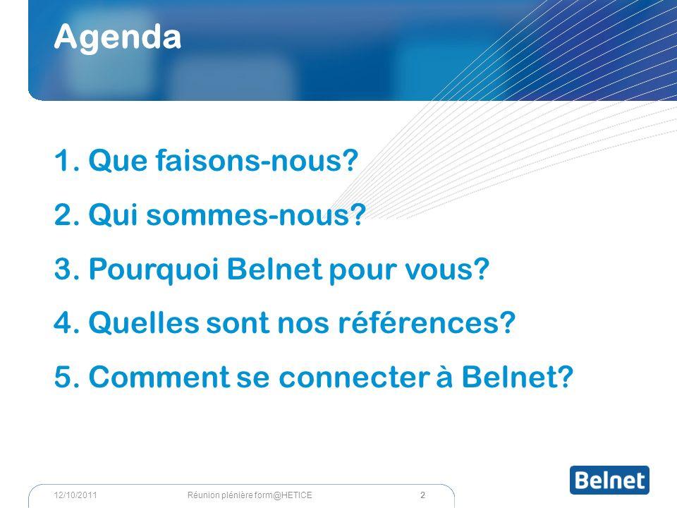 2 Réunion plénière form@HETICE12/10/2011 Agenda 1.