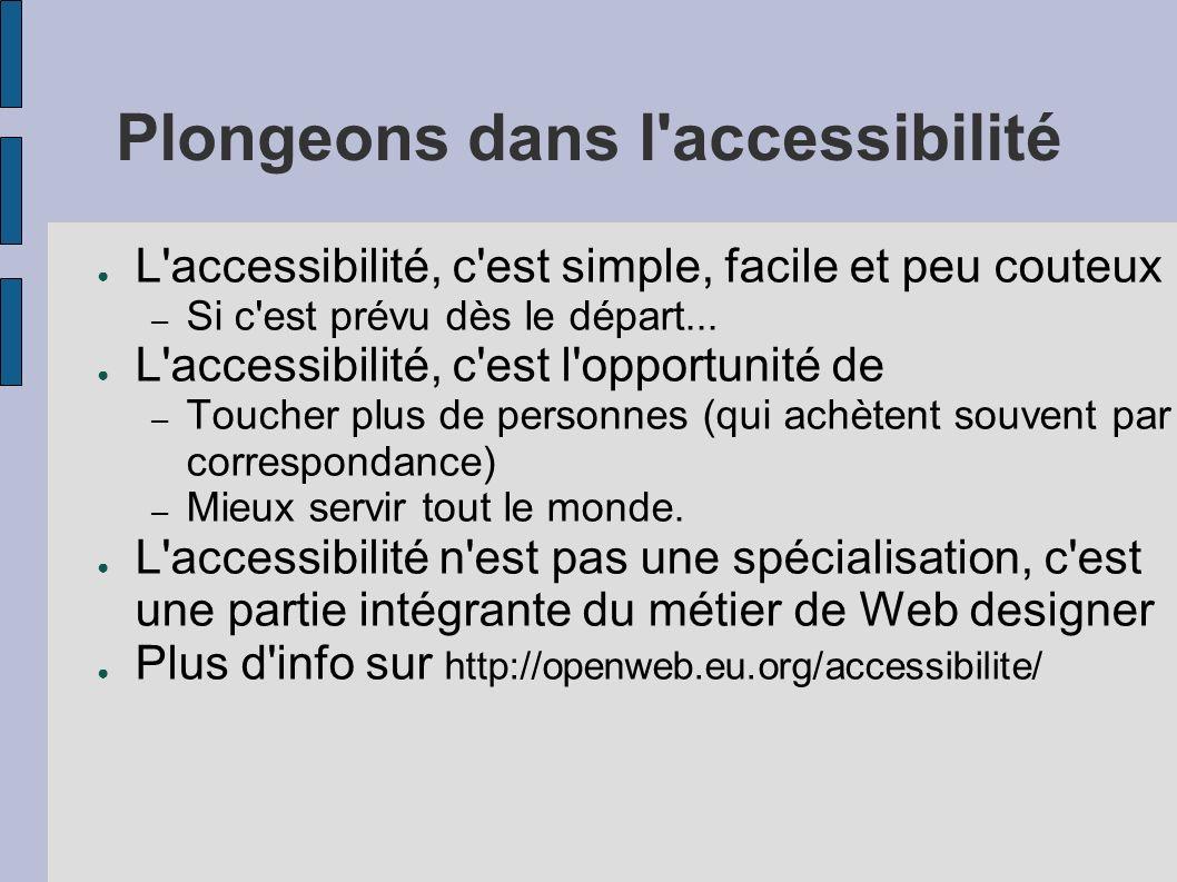 Plongeons dans l accessibilité L accessibilité, c est simple, facile et peu couteux – Si c est prévu dès le départ...