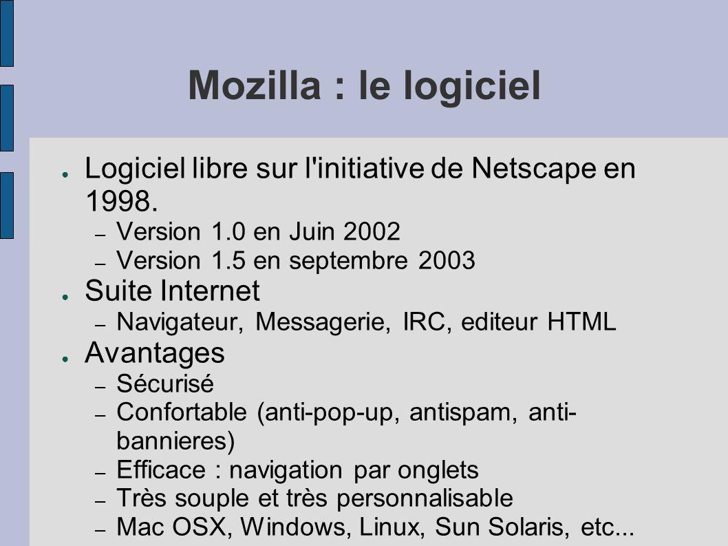 Mozilla : le logiciel Logiciel libre sur l'initiative de Netscape en 1998. – Version 1.0 en Juin 2002 – Version 1.5 en septembre 2003 Suite Internet –