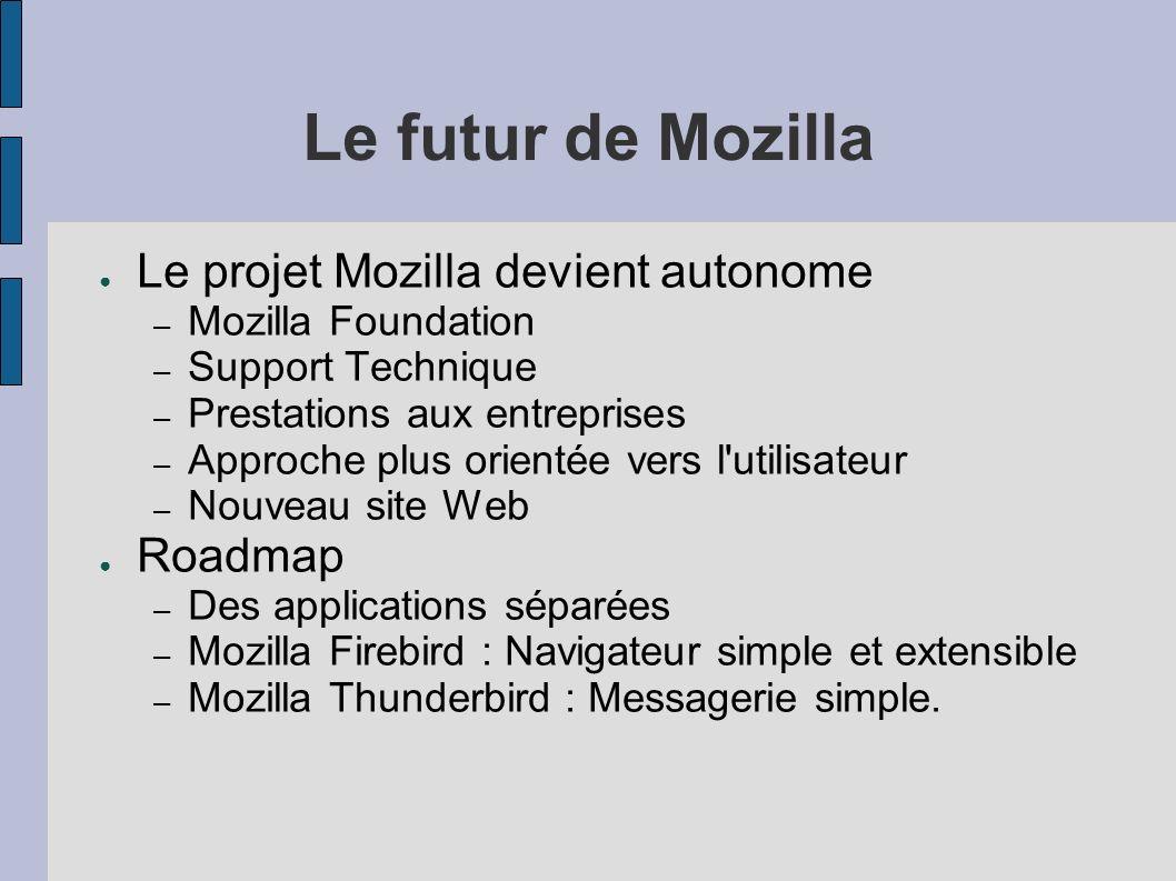 Le futur de Mozilla Le projet Mozilla devient autonome – Mozilla Foundation – Support Technique – Prestations aux entreprises – Approche plus orientée