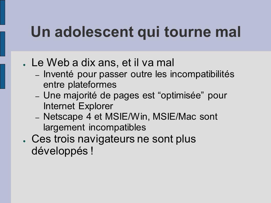 Un adolescent qui tourne mal Le Web a dix ans, et il va mal – Inventé pour passer outre les incompatibilités entre plateformes – Une majorité de pages
