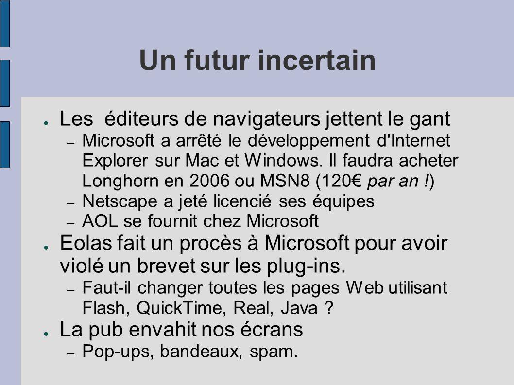 Un futur incertain Les éditeurs de navigateurs jettent le gant – Microsoft a arrêté le développement d Internet Explorer sur Mac et Windows.