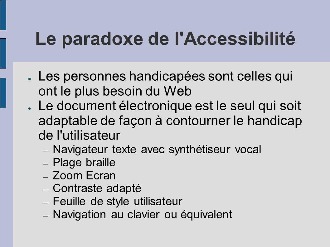 Le paradoxe de l Accessibilité Les personnes handicapées sont celles qui ont le plus besoin du Web Le document électronique est le seul qui soit adaptable de façon à contourner le handicap de l utilisateur – Navigateur texte avec synthétiseur vocal – Plage braille – Zoom Ecran – Contraste adapté – Feuille de style utilisateur – Navigation au clavier ou équivalent
