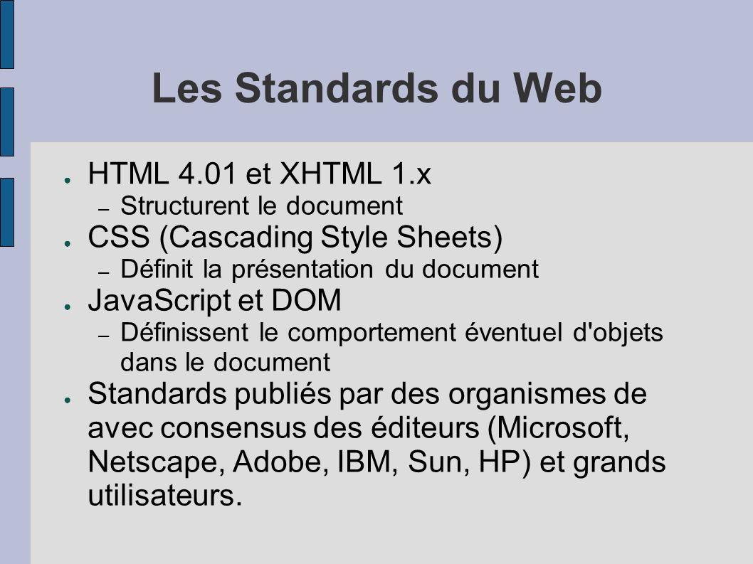 Avantages des standards Précis et sans ambigüité (ou presque) Publics Cohérents Adoptés par tous les navigateurs modernes – Apple Safari – Konqueror – Opera – IE/Mac – IE6 (et 5.x dans une certaine mesure) – Mozilla – Netscape 6 et 7 Intègrent la notion d accessibilité