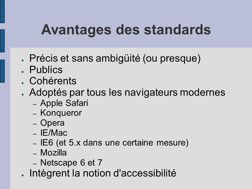 Avantages des standards Précis et sans ambigüité (ou presque) Publics Cohérents Adoptés par tous les navigateurs modernes – Apple Safari – Konqueror –