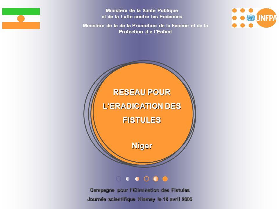RESEAU POUR LERADICATION DES FISTULES Niger Ministère de la Santé Publique et de la Lutte contre les Endémies Ministère de la de la Promotion de la Fe