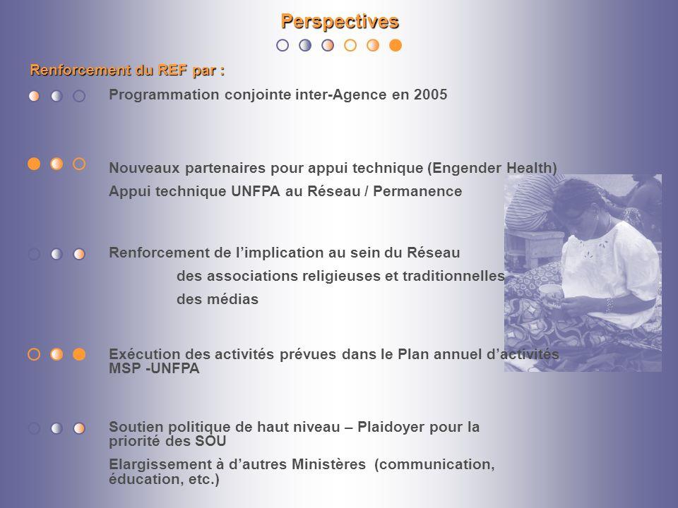 Renforcement du REF par : Perspectives Soutien politique de haut niveau – Plaidoyer pour la priorité des SOU Elargissement à dautres Ministères (commu