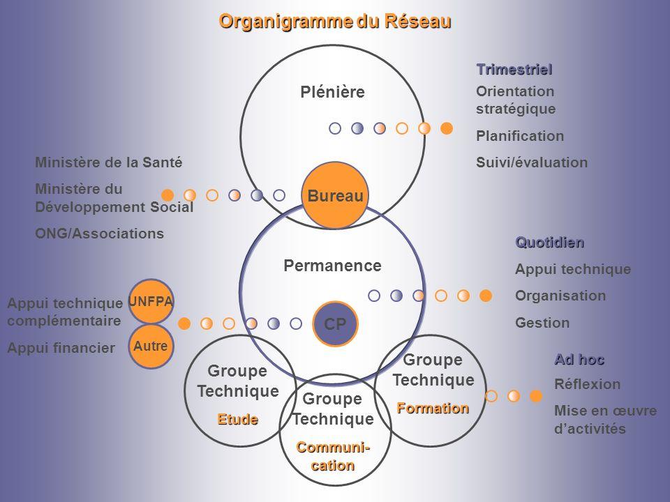 Organigramme du Réseau Plénière Permanence Groupe TechniqueEtude Communi- cation Groupe TechniqueFormation Réflexion Mise en œuvre dactivités Bureau M