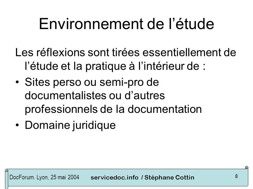 DocForum. Lyon, 25 mai 2004servicedoc.info / Stéphane Cottin 8 Environnement de létude Les réflexions sont tirées essentiellement de létude et la prat