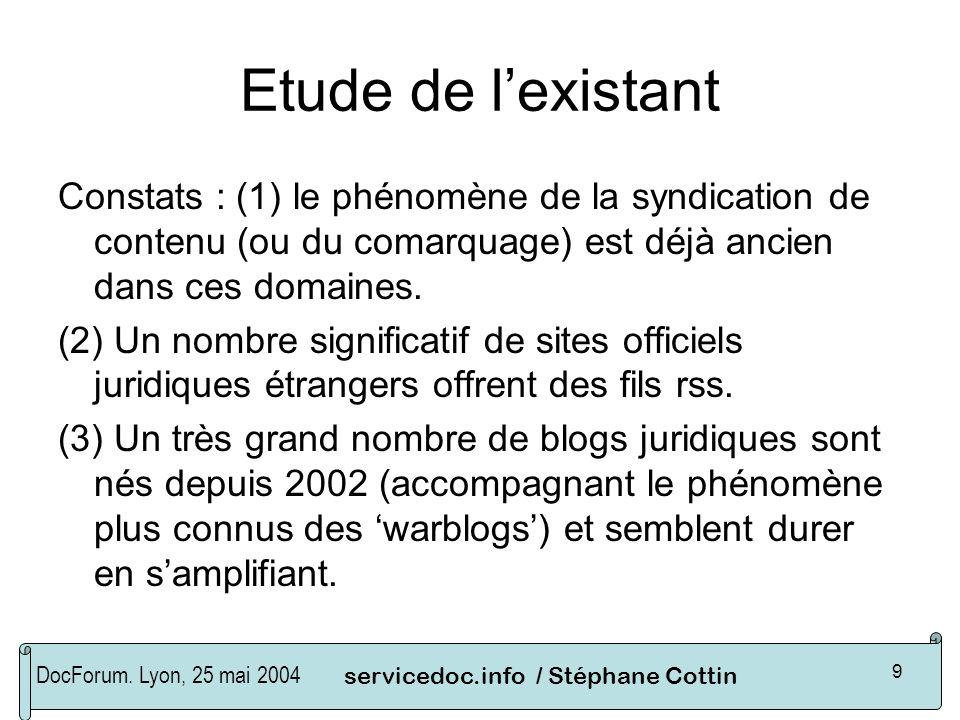 DocForum. Lyon, 25 mai 2004servicedoc.info / Stéphane Cottin 9 Etude de lexistant Constats : (1) le phénomène de la syndication de contenu (ou du coma