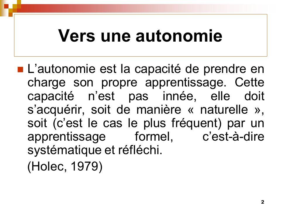 2 Vers une autonomie Lautonomie est la capacité de prendre en charge son propre apprentissage.