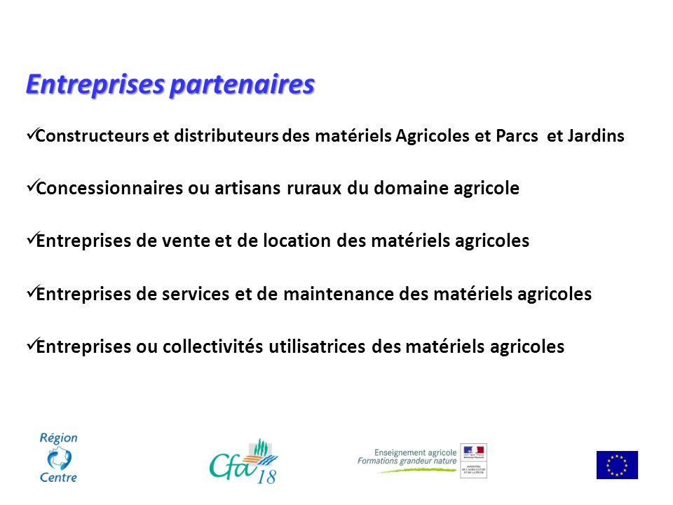 Entreprises partenaires Constructeurs et distributeurs des matériels Agricoles et Parcs et Jardins Concessionnaires ou artisans ruraux du domaine agri