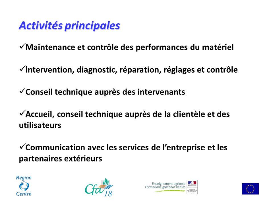 Activités principales Maintenance et contrôle des performances du matériel lntervention, diagnostic, réparation, réglages et contrôle Conseil techniqu