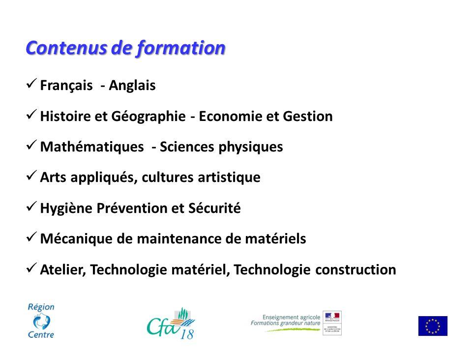 Contenus de formation Français - Anglais Histoire et Géographie - Economie et Gestion Mathématiques - Sciences physiques Arts appliqués, cultures arti