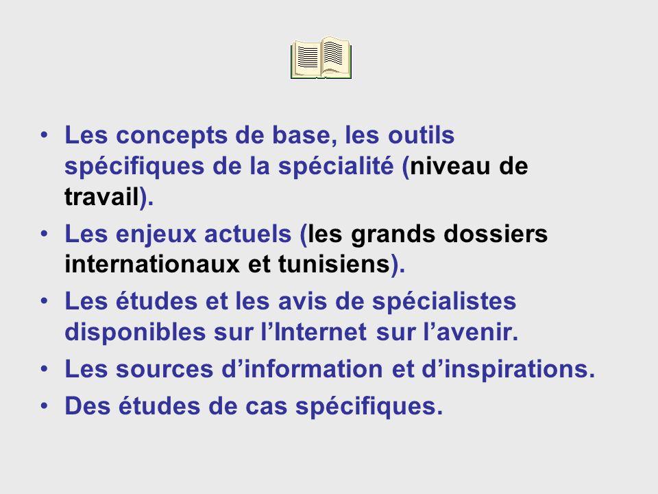 Les concepts de base, les outils spécifiques de la spécialité (niveau de travail).
