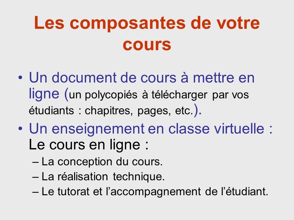 Les composantes de votre cours Un document de cours à mettre en ligne ( un polycopiés à télécharger par vos étudiants : chapitres, pages, etc.