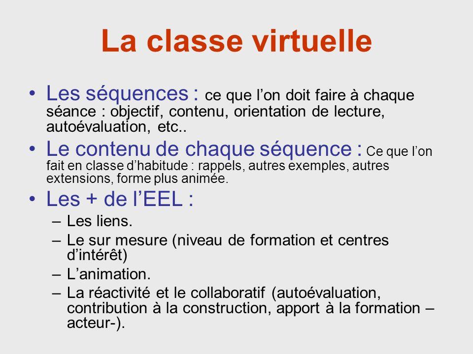 La classe virtuelle Les séquences : ce que lon doit faire à chaque séance : objectif, contenu, orientation de lecture, autoévaluation, etc..