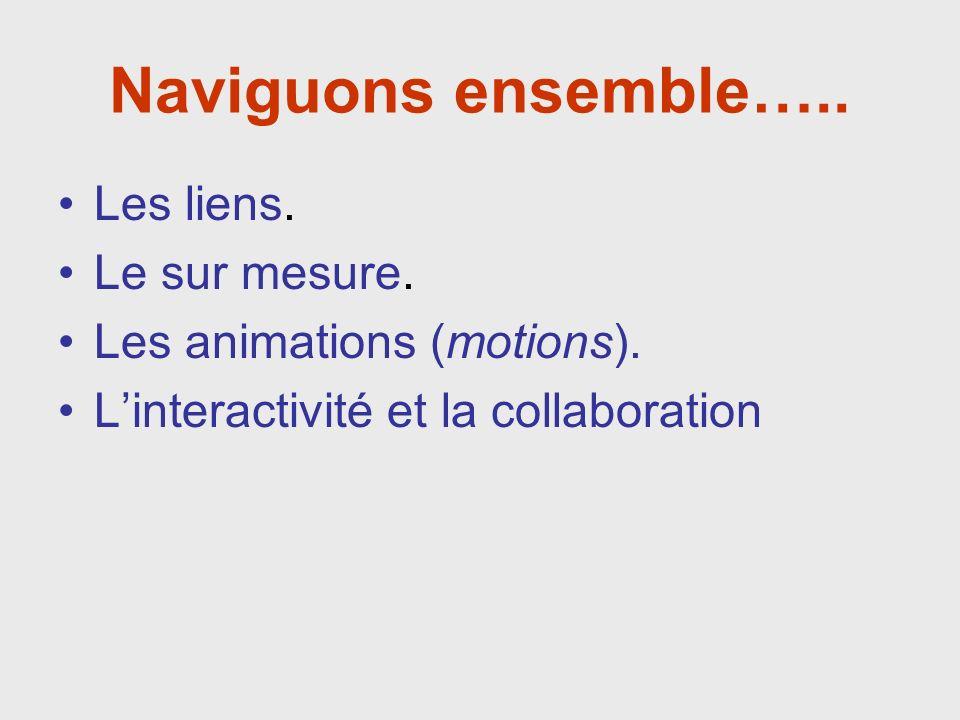 Naviguons ensemble….. Les liens. Le sur mesure. Les animations (motions).