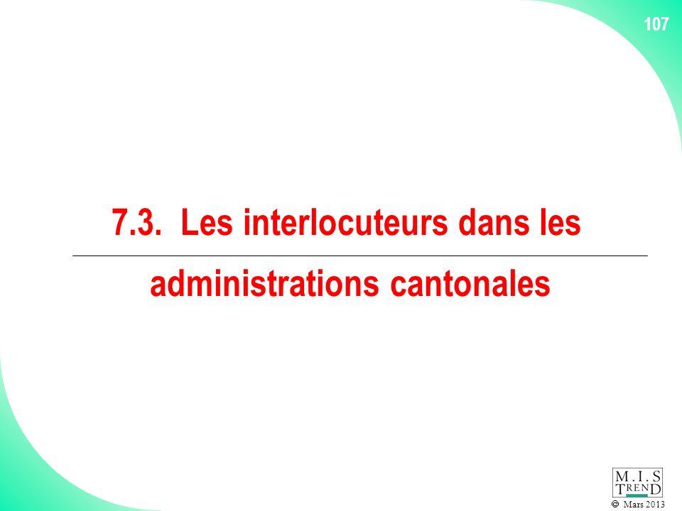 Mars 2013 107 7.3. Les interlocuteurs dans les administrations cantonales