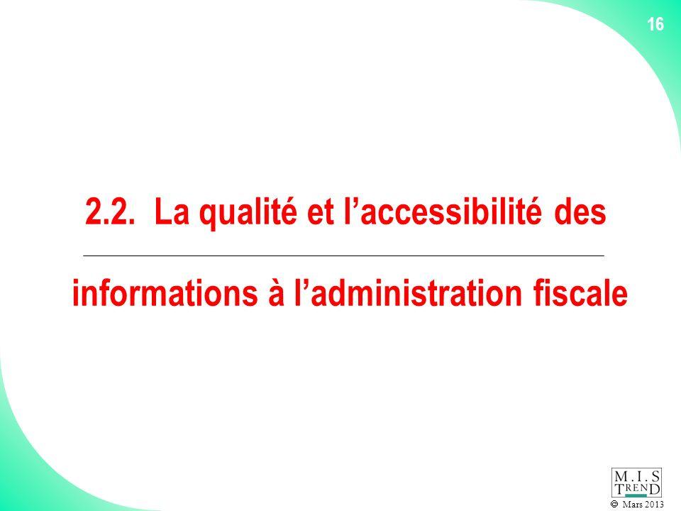 Mars 2013 16 2.2. La qualité et laccessibilité des informations à ladministration fiscale
