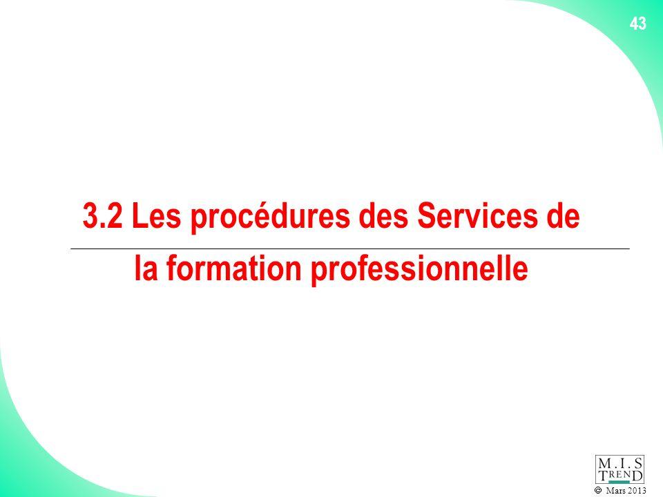Mars 2013 43 3.2 Les procédures des Services de la formation professionnelle