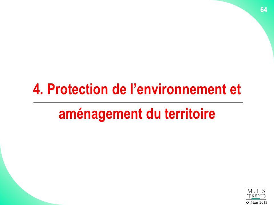 Mars 2013 64 4. Protection de lenvironnement et aménagement du territoire
