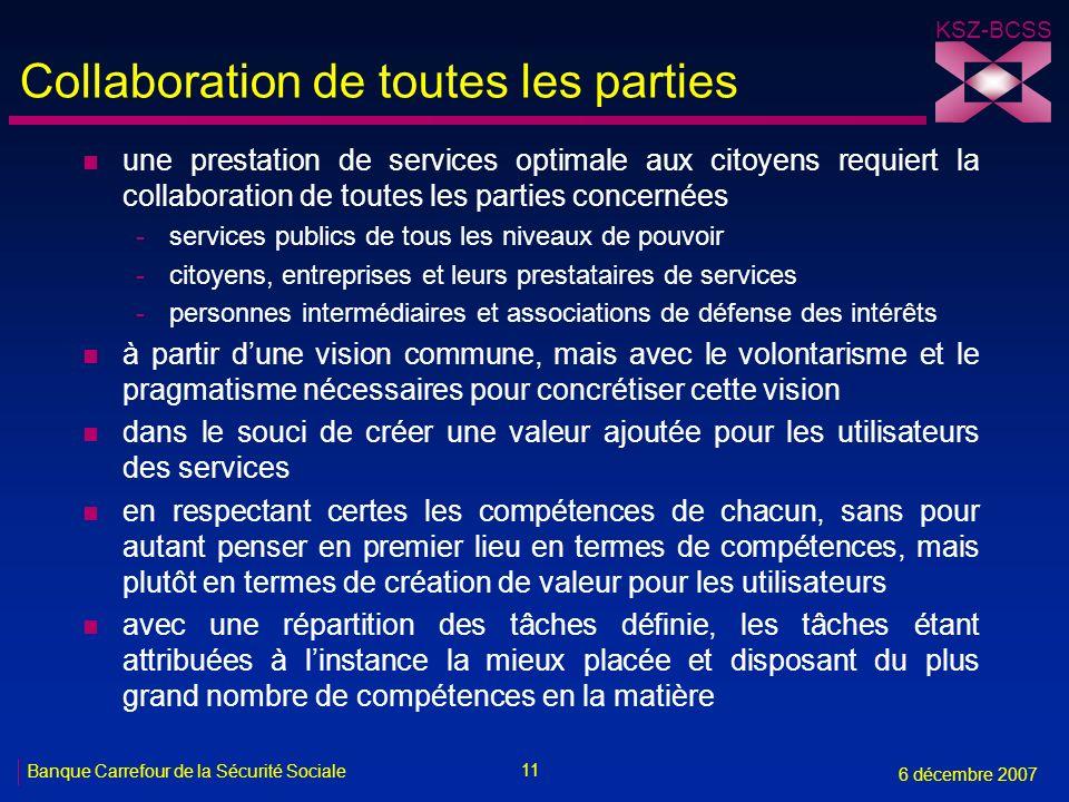 11 Banque Carrefour de la Sécurité Sociale 6 décembre 2007 KSZ-BCSS Collaboration de toutes les parties n une prestation de services optimale aux cito