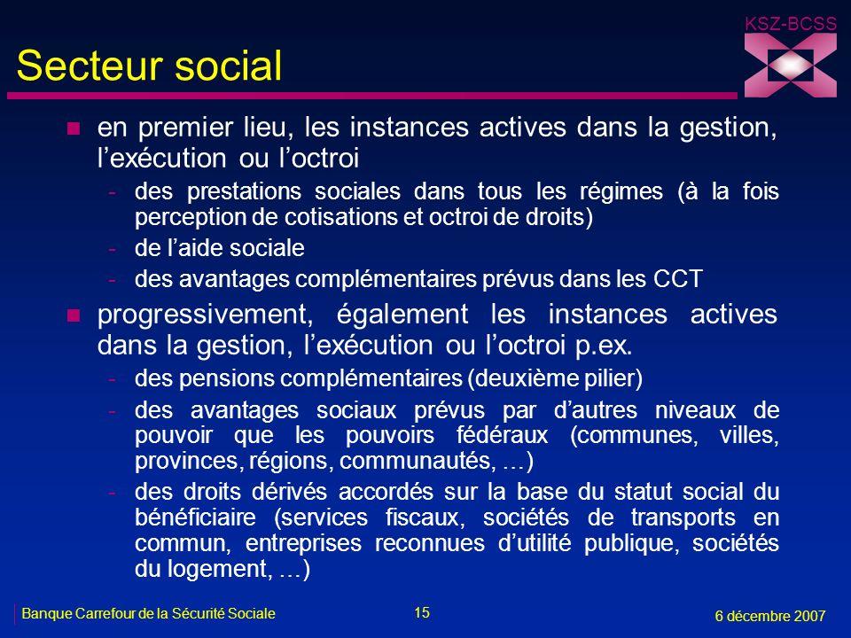 15 Banque Carrefour de la Sécurité Sociale 6 décembre 2007 KSZ-BCSS Secteur social n en premier lieu, les instances actives dans la gestion, lexécutio