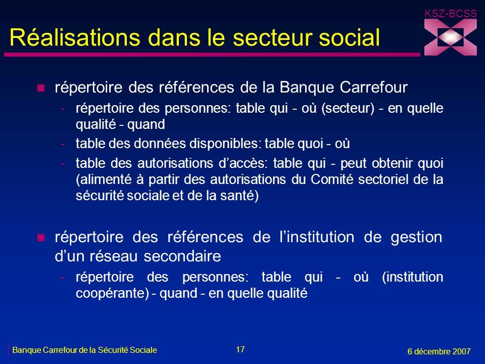 17 Banque Carrefour de la Sécurité Sociale 6 décembre 2007 KSZ-BCSS Réalisations dans le secteur social n répertoire des références de la Banque Carre