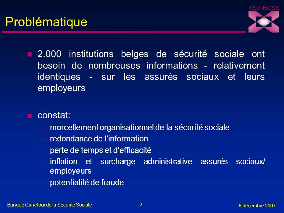 2 Banque Carrefour de la Sécurité Sociale 6 décembre 2007 KSZ-BCSS Problématique n 2.000 institutions belges de sécurité sociale ont besoin de nombreu