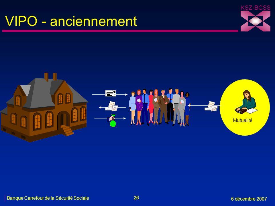 26 Banque Carrefour de la Sécurité Sociale 6 décembre 2007 KSZ-BCSS VIPO - anciennement Mutualité
