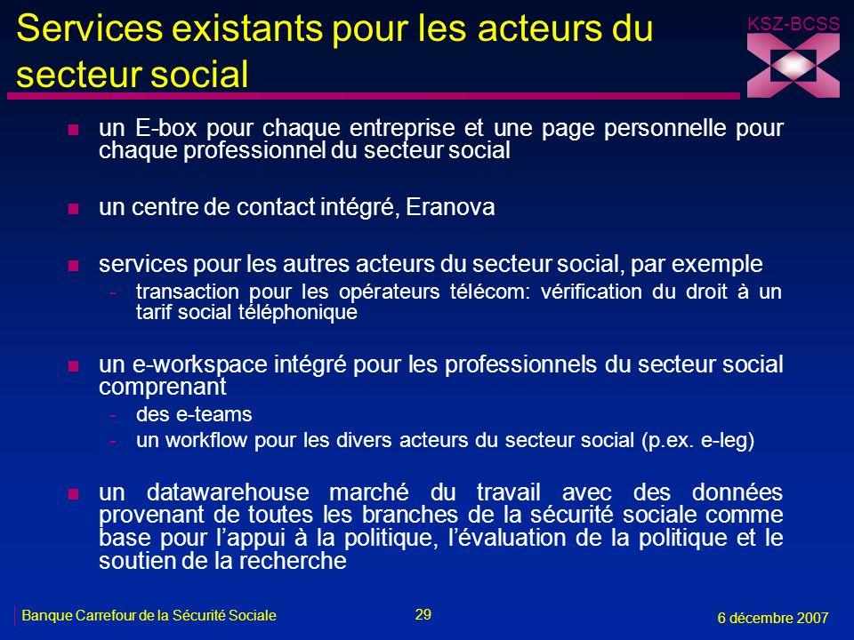 29 Banque Carrefour de la Sécurité Sociale 6 décembre 2007 KSZ-BCSS Services existants pour les acteurs du secteur social n un E-box pour chaque entre