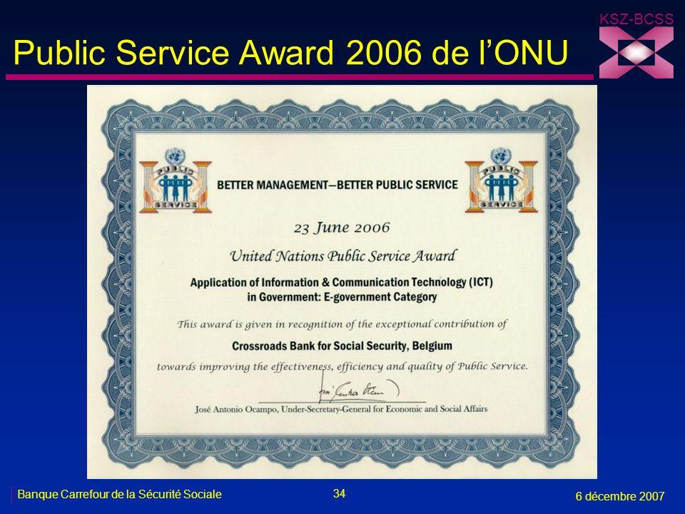34 Banque Carrefour de la Sécurité Sociale 6 décembre 2007 KSZ-BCSS Public Service Award 2006 de lONU