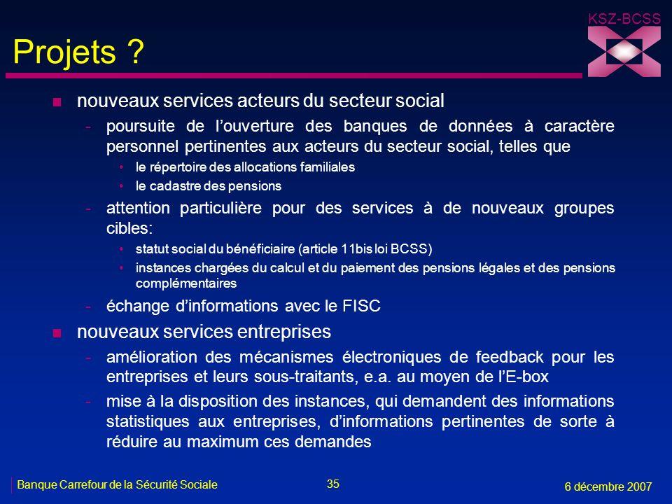 35 Banque Carrefour de la Sécurité Sociale 6 décembre 2007 KSZ-BCSS Projets ? n nouveaux services acteurs du secteur social -poursuite de louverture d