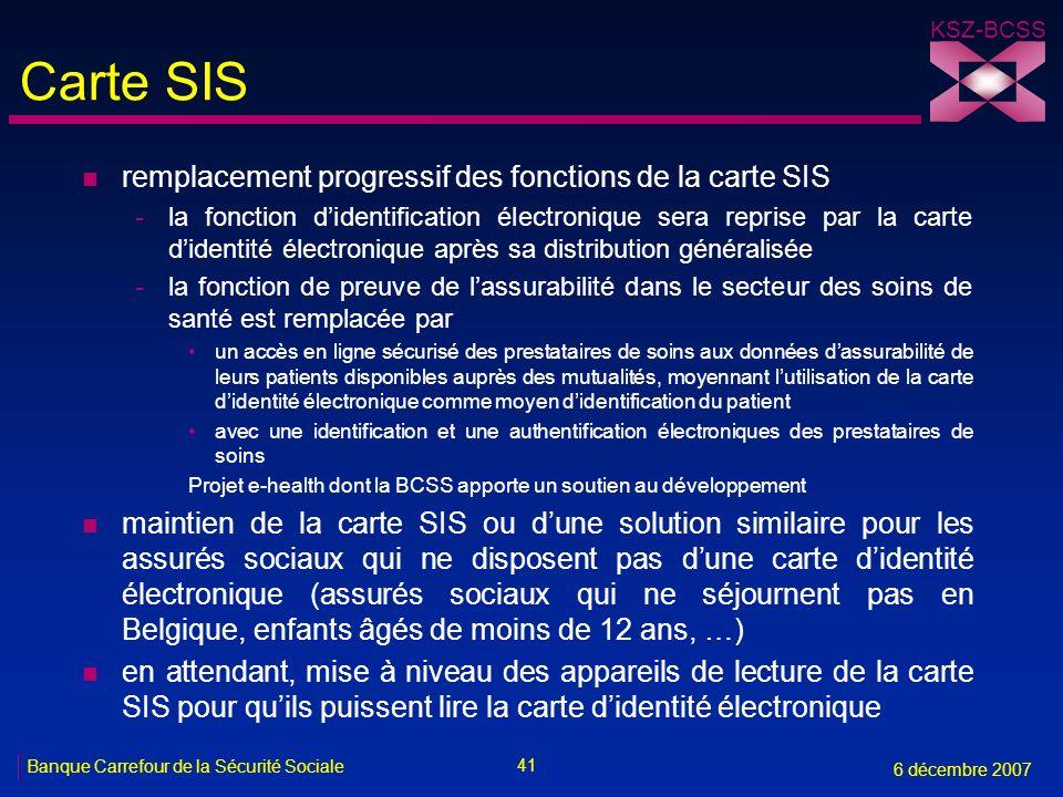 41 Banque Carrefour de la Sécurité Sociale 6 décembre 2007 KSZ-BCSS Carte SIS n remplacement progressif des fonctions de la carte SIS -la fonction did