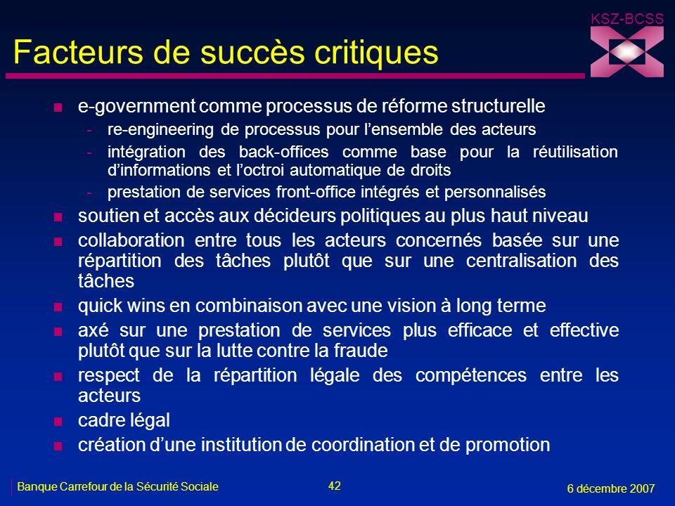 42 Banque Carrefour de la Sécurité Sociale 6 décembre 2007 KSZ-BCSS Facteurs de succès critiques n e-government comme processus de réforme structurell