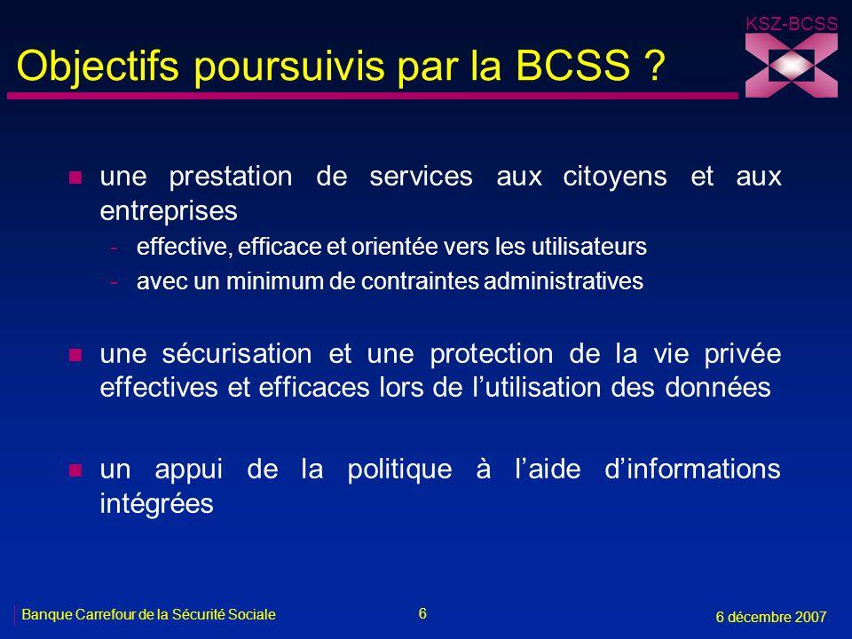6 Banque Carrefour de la Sécurité Sociale 6 décembre 2007 KSZ-BCSS Objectifs poursuivis par la BCSS ? n une prestation de services aux citoyens et aux
