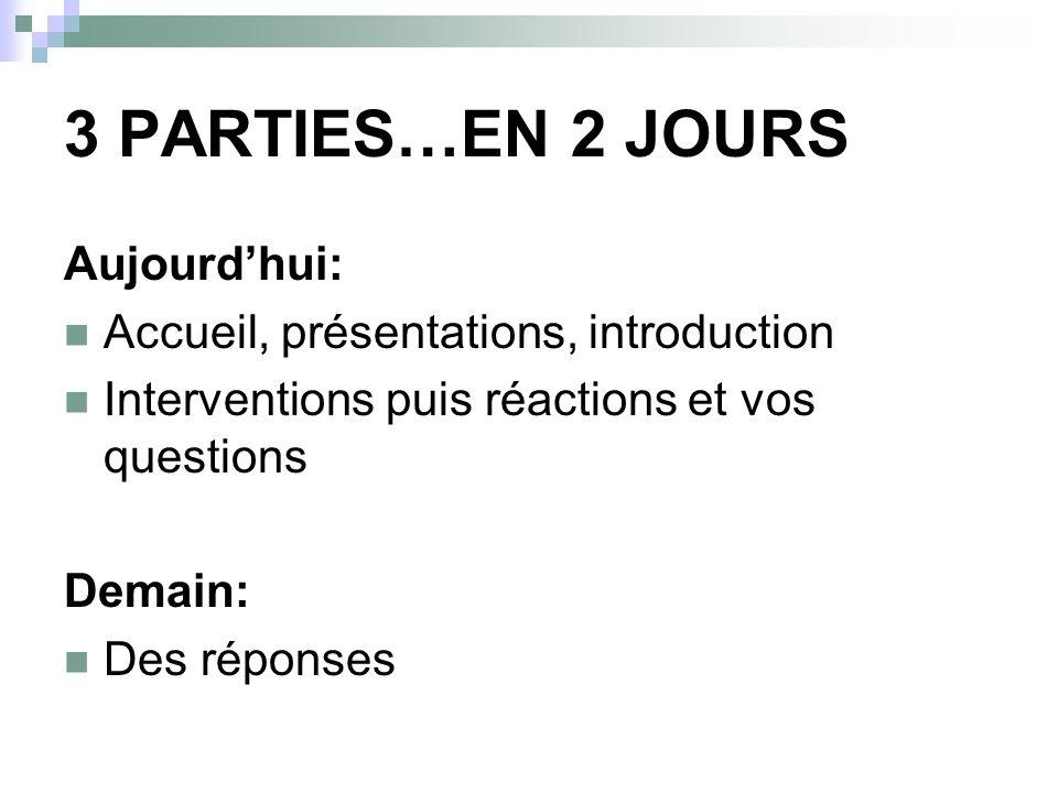 3 PARTIES…EN 2 JOURS Aujourdhui: Accueil, présentations, introduction Interventions puis réactions et vos questions Demain: Des réponses