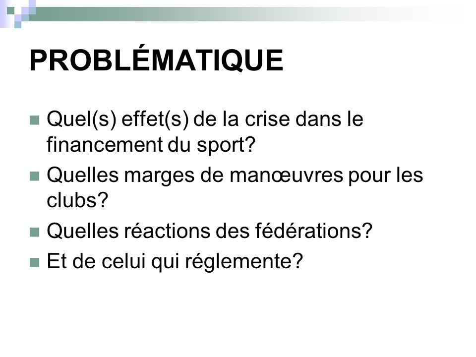 PROBLÉMATIQUE Quel(s) effet(s) de la crise dans le financement du sport.