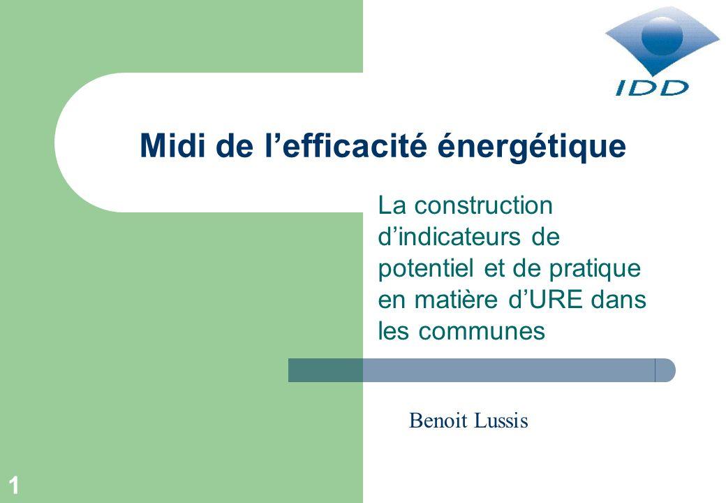 1 Midi de lefficacité énergétique La construction dindicateurs de potentiel et de pratique en matière dURE dans les communes Benoit Lussis
