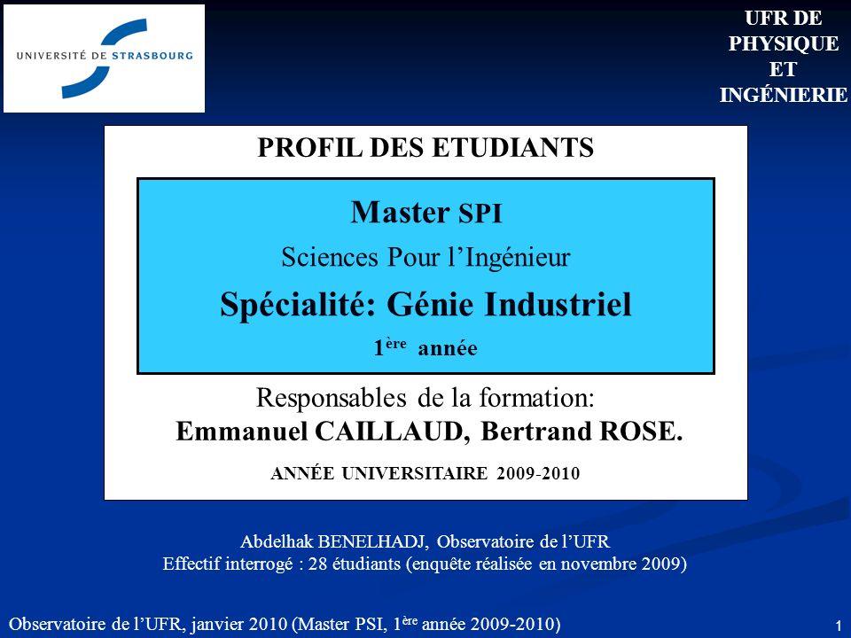 Observatoire de lUFR, janvier 2010 (Master PSI, 1 ère année 2009-2010 ) 1 PROFIL DES ETUDIANTS Responsables de la formation: Emmanuel CAILLAUD, Bertrand ROSE.