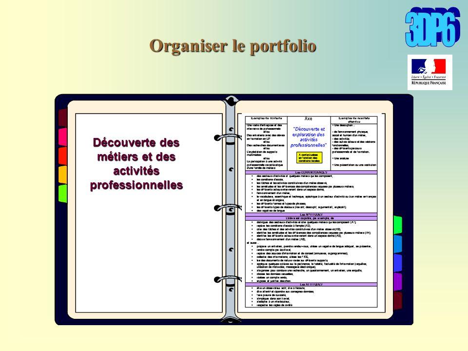 Découverte des métiers et des activités professionnelles Organiser le portfolio
