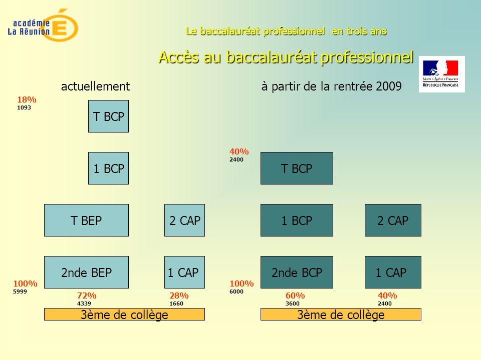 Accès au baccalauréat professionnel 1 BCP 2nde BEP T BEP 3ème de collège T BCP 1 CAP 2 CAP T BCP 2nde BCP 1 BCP 3ème de collège 1 CAP 2 CAP actuelleme