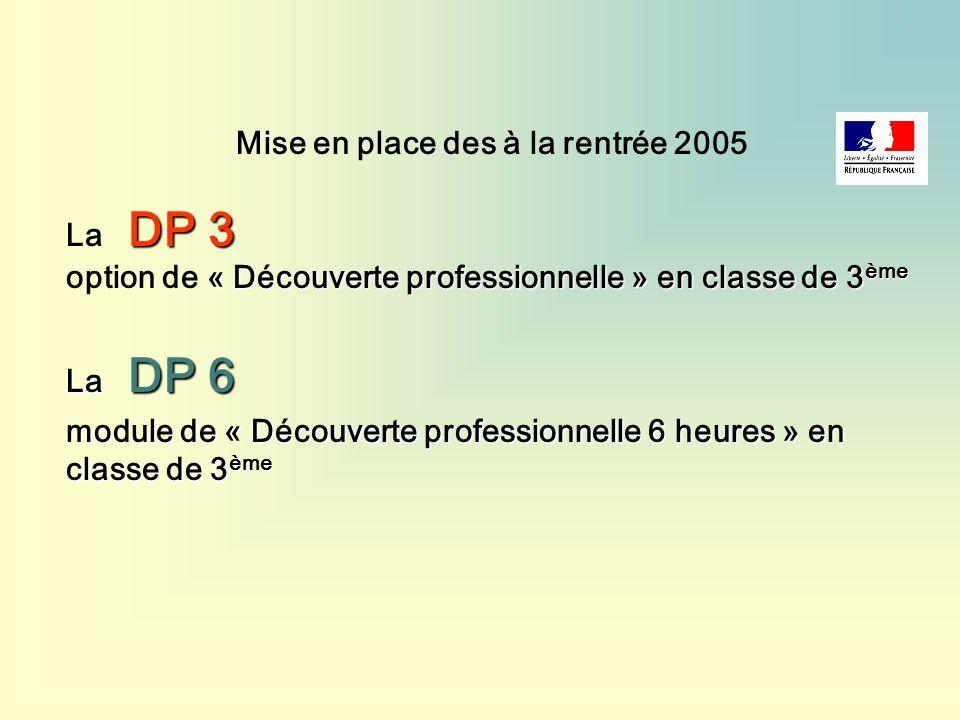Mise en place des à la rentrée 2005 DP 3 La DP 3 « Découverte professionnelle » en classe de 3 ème option de « Découverte professionnelle » en classe