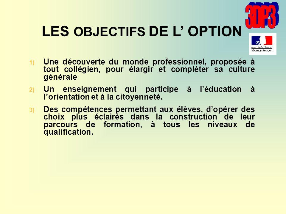LES OBJECTIFS DE L OPTION 1) 1) Une découverte du monde professionnel, proposée à tout collégien, pour élargir et compléter sa culture générale 2) 2)